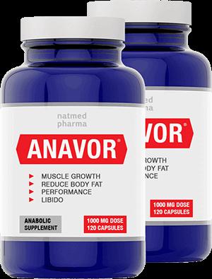 2 бутилки от невероятният ни продукт anavor, пълни с хапчета за увеличение на тестостерона и набавяне на чиста мускулна маса за отрицателно време