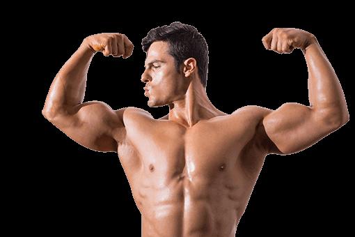 портрет на мускулест мъж гледащ бицепсния си мускул и пращащ му въздушна целувка.