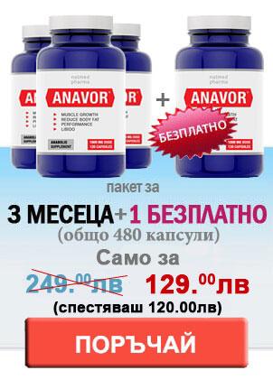 3 бутилки Анавор плюс една безплатно изобразени заедно с цените в красив банер, кореспондиращ със силата и уникалността на нашите хапчета за повишение на тестостерона съдържащи Tribulus Terrestris.