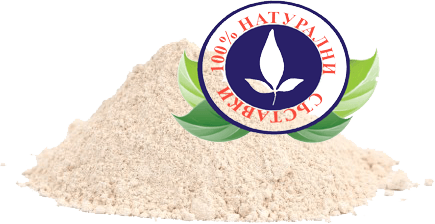 съдържанието на таблетки за увеличаване на мускулите Анавор, изсипано на купчинка и превърнато в прах, с банер върху него гласящ, че съдържа само натурални съставки