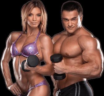 Мъж и жена хванали гирички и трениращи упорито след вземане на добавка за покачване на мускулна маса - Анавор.