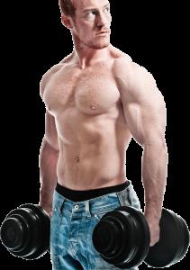 мъж без тениска, който е хванал 2 гирички и тренира, покачвайки мускулната си маса.