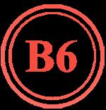 Надпис B6 в червено, символизиращо витамин Б6, който се съдържа в нашите хапчета за стремглаво повишаване на чистата мускулна маса.