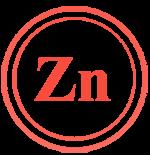 Надпис Zinc в червено, символизиращо Цинка, който се съдържа в нашите хапчета за повдигане на нивото на тестостерон и чиста мускулна маса.